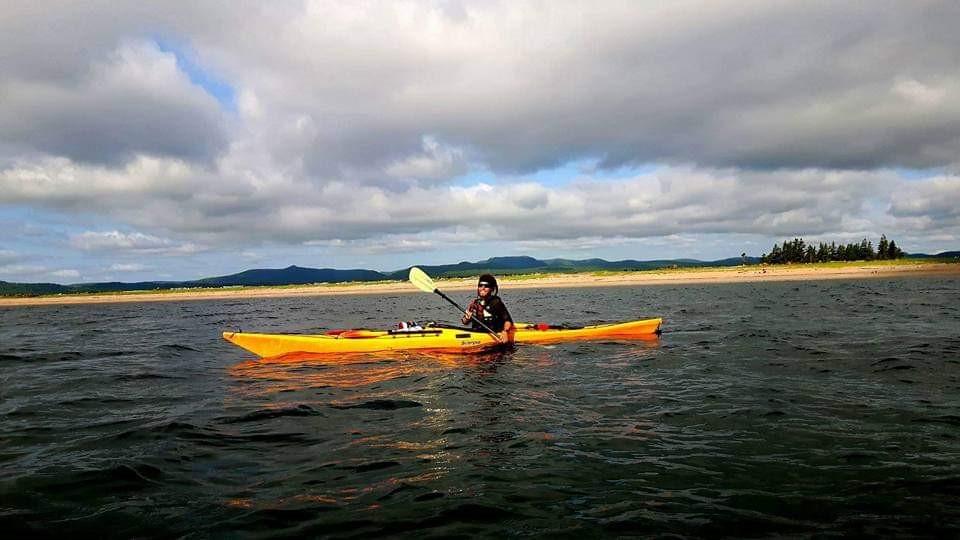 Aube sur mer, kayak