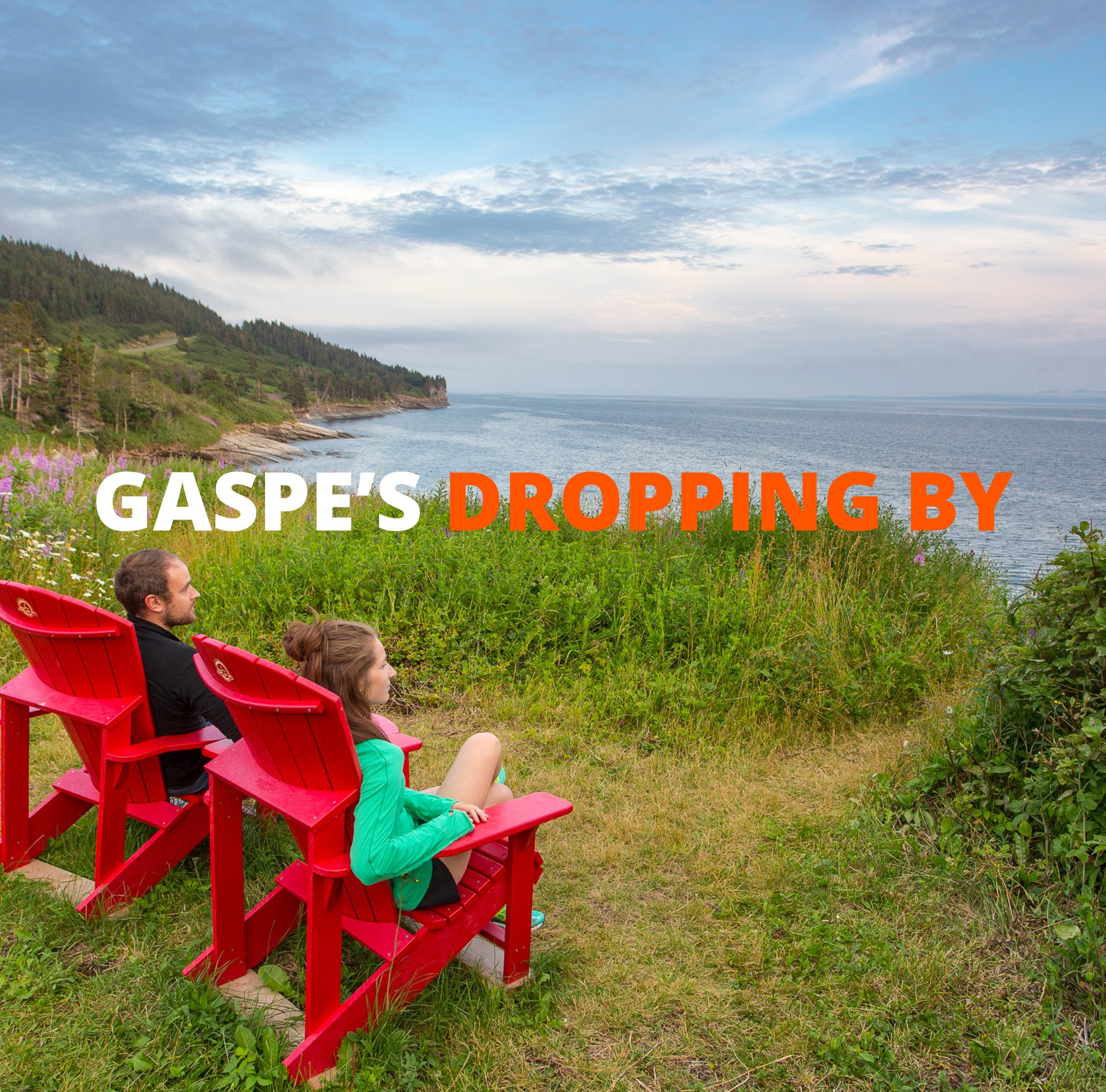 Gaspe's dropping by : Forillon's red chairs… at home!